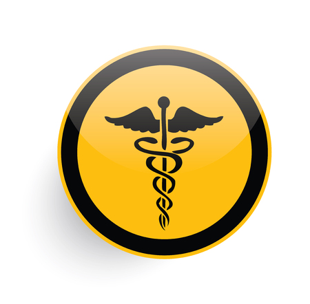 caduceus medical symbol: Medical symbol icon design on yellow button background,clean vector Illustration