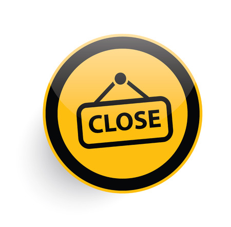 Close icon on yellow button background,clean vector