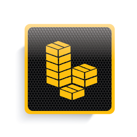 stockpile: Box icon design,yellow version,clean vector