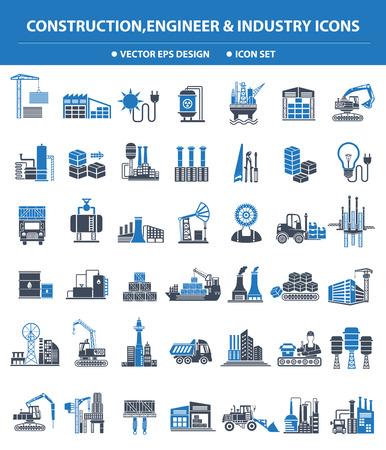 Bau, Ingenieur und Industrie-Symbol gesetzt, blaue Version, saubere Vektor