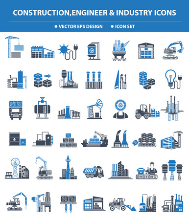 refinery engineer: Construction,Engineer and Industry icon set,blue version,clean vector