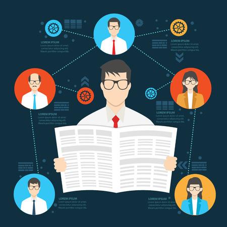 hombre caricatura: El diseño de los empleados del periódico, humano información gráfica de los recursos, limpio vector