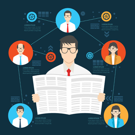 person reading: Newspaper employee design,human resource info graphic,clean vector Illustration