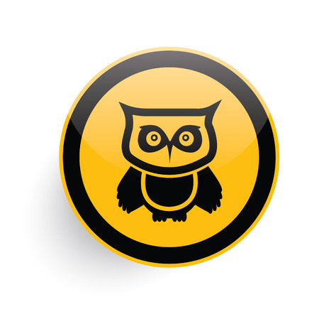Owl icon on yellow button background,clean vector