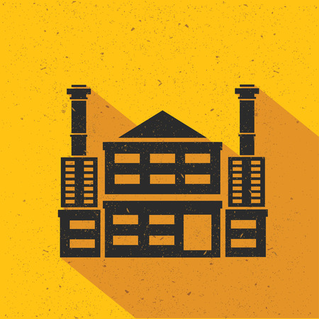 nuclear vector: Factory,Industry flat design,yellow version,vector