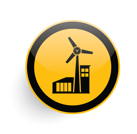 windfarm: Wind turbine icon on yellow button background,clean vector