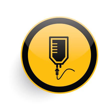 saline: Saline icon design on yellow button background,clean vector Illustration