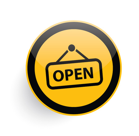 doorhandle: Open icon on yellow button background,clean vector