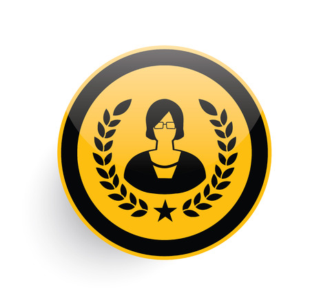 financial advisors: Woman icon on yellow button background,clean vector