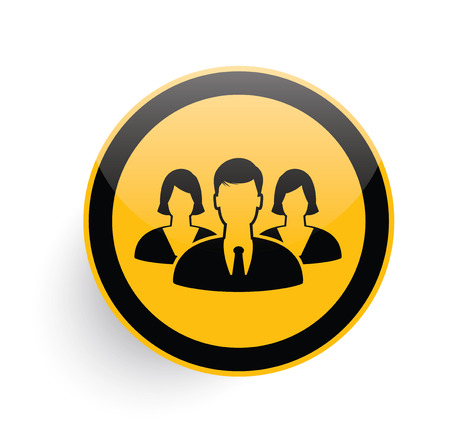 equal opportunity: Teamwork icon on yellow button background,clean vector