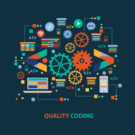 coder: Quality coding concept design on dark background,clean vector