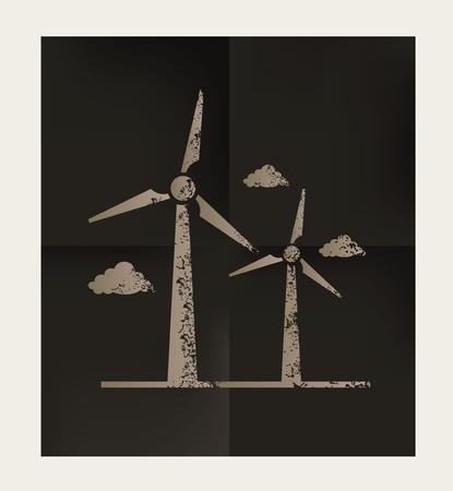 10eps: Wind turbine design on black background,vector