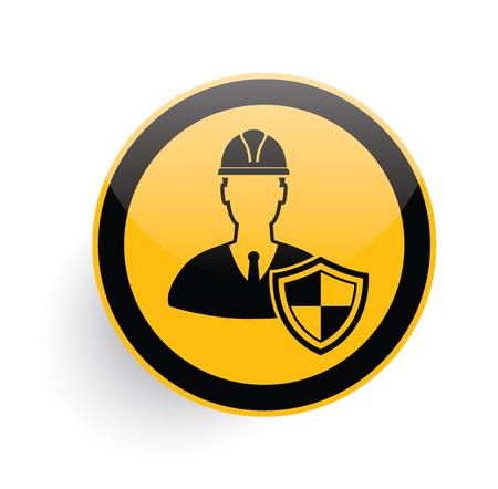 ceo: Engineer icon on yellow button background,clean vector Illustration