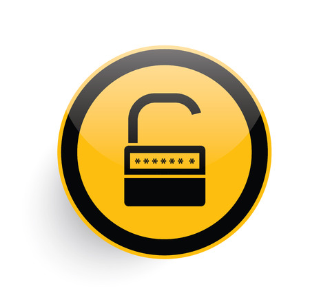 pent: Unlock icon design on yellow button background,clean vector