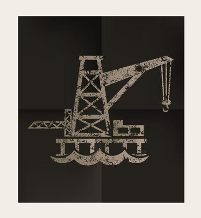 smokestack: Oil,industry design on black background,vector