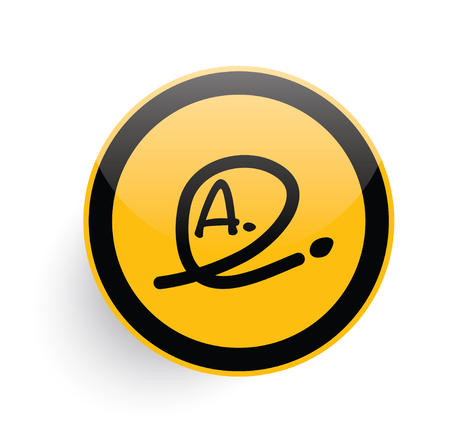 assignment: Grade a icon design on yellow button background,clean vector