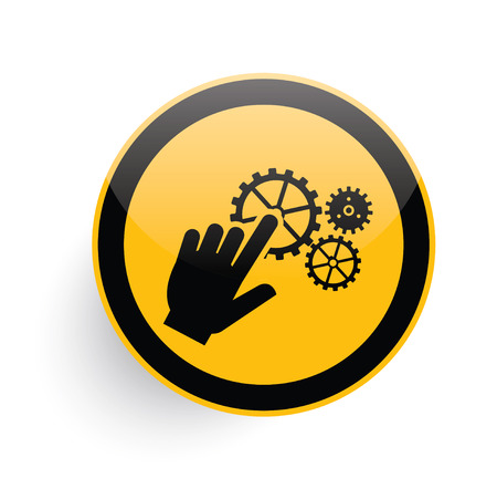 click button: Click icon design on yellow button background,clean vector