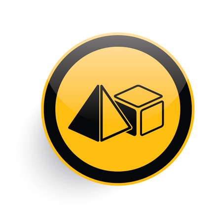 new age: Geometry icon design on yellow button background,clean vector