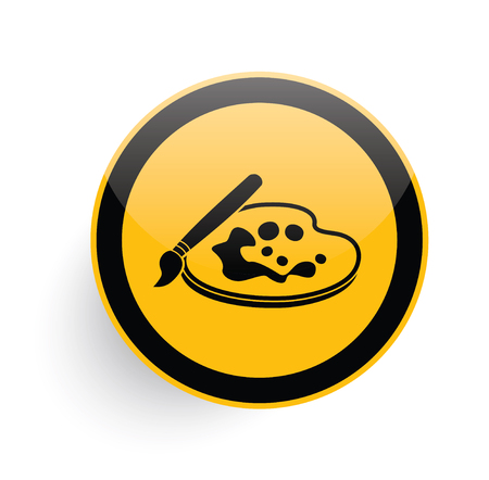 sketchpad: Paint icon design on yellow button background,clean vector