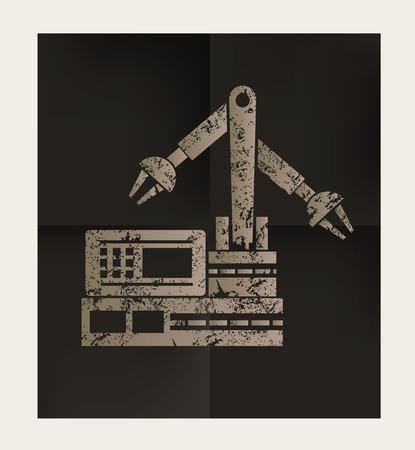 habiliment: Engineering design on black background, vector