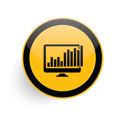 delineate: Computer analysis icon design on yellow button background,clean vector Illustration