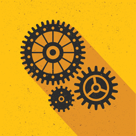 turn yellow: Gear flat design,vector Illustration