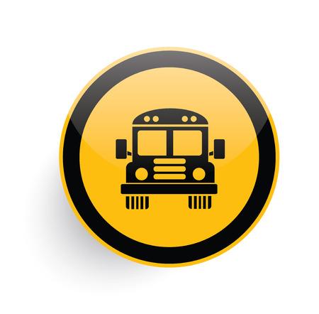 cartoon bus: School bus icon design on yellow button background,clean vector