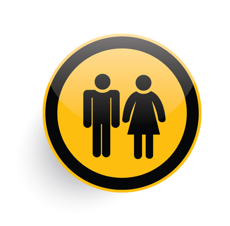 urban planning: Human icon design on yellow button background,clean vector