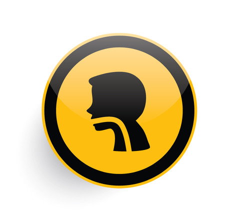 reflux: Digestive icon design on yellow button background,clean vector
