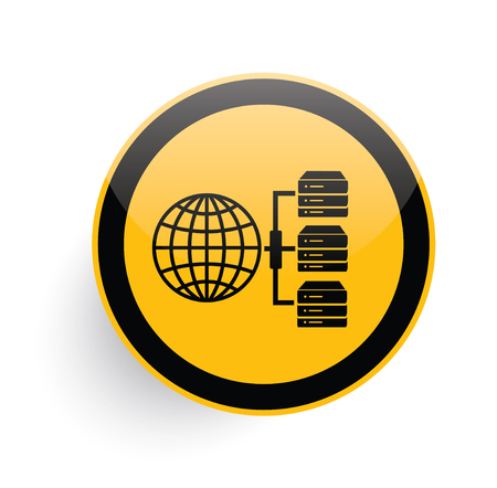 db: Database,Network icon design on yellow button background,clean vector Illustration
