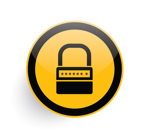 pent: Lock icon design on yellow button background,clean vector