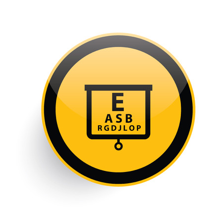 Eye test icon design on yellow button background,clean vector