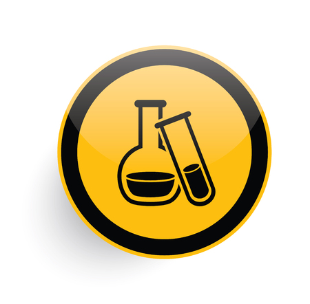yellow lab: Science icon design on yellow button background,clean vector