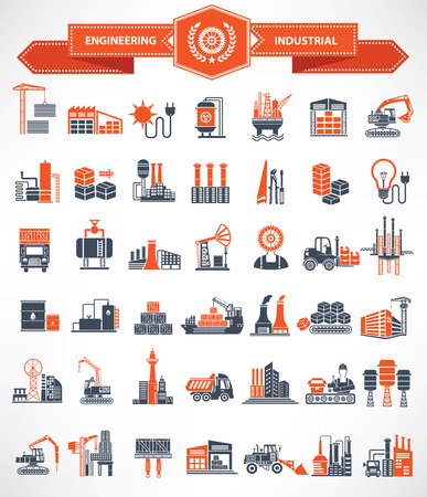 electricidad industrial: Construcción, Ingeniería e Industria icono conjunto, la versión naranja, vector limpia