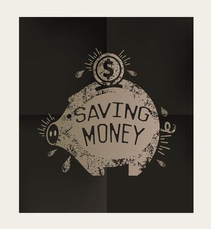 mumps: Saving money design on black background,vector