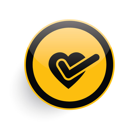 clean heart: Heart icon design on yellow button background,clean vector Illustration