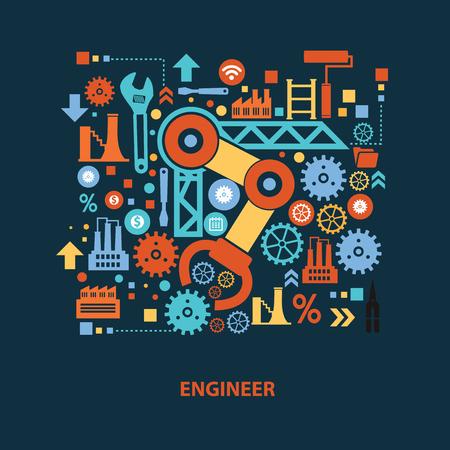 Engineer concept design on dark background,clean vector  イラスト・ベクター素材