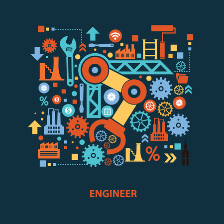 Engineer concept design on dark background,clean vector Çizim