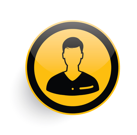 unnamed: Man icon design on yellow button background,clean vector