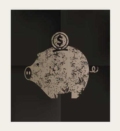 mumps: Piggy bank design on black background,vector Illustration