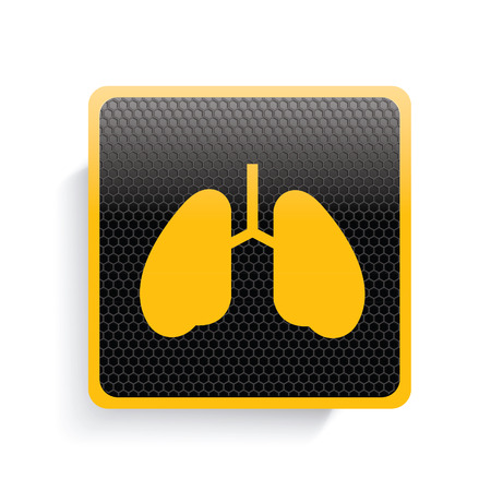 pulmones: Lung icon design,yellow version,clean vector Illustration