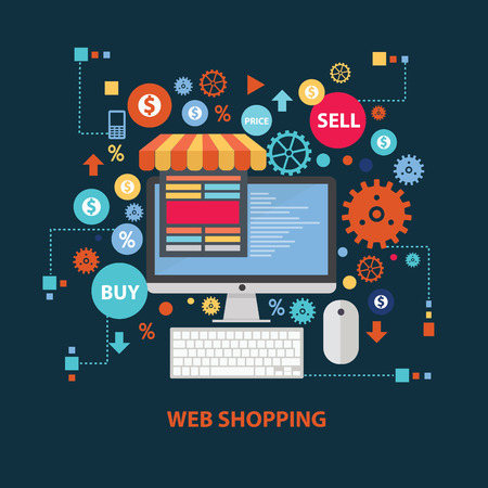 online purchase: Web shopping concept design on dark background,clean vector Illustration