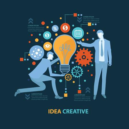 Stock Vector Illustration: Idea creative concept design on dark background,clean vector