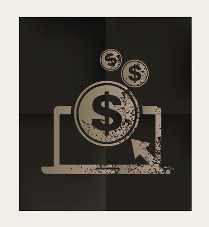 Dollar click design on black background,vector Illustration