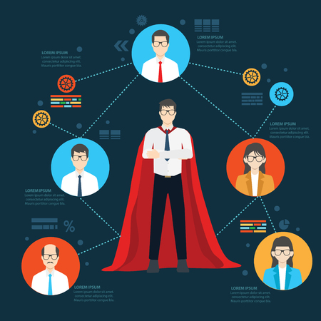 super powers: Super employee design,info graphic design,clean vector