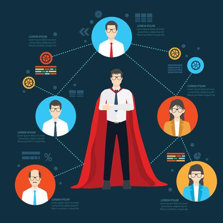Super werknemer ontwerp, info grafisch ontwerp, duidelijke vector