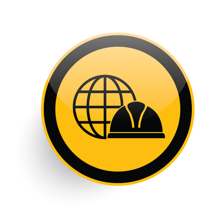 mine site: Global,safety hat icon on yellow button background,clean vector