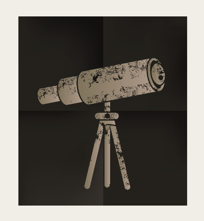 ocular: Telescope design on black background,vector Illustration
