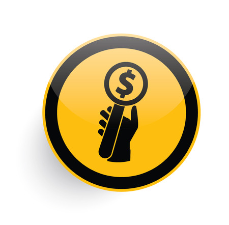 bid: Bid icon on yellow button background,clean vector