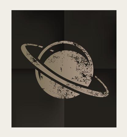 sufi: Saturn design on black background,vector